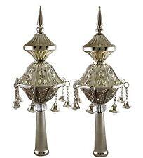 Judaica Silver Plated Pair Of Torah Finials Rimonim Hanging Bells Engraved
