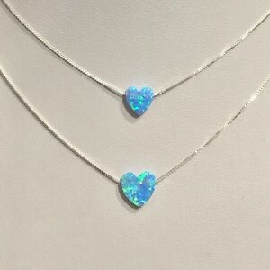 925 Sterling Silver Blue Opal Floating Opal Heart Protection Necklace