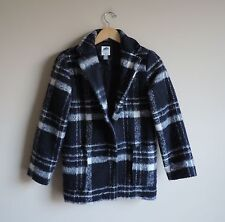 Girls Youth Old Navy Plaid White and Navy Long Dressy Coat Jacket Size XL 14