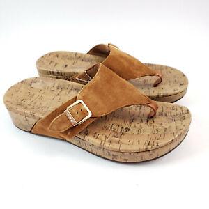 Vionic Marbella Comfort Sandals US 8 Suede Thong W/ Buckle Cork Platform Wedge