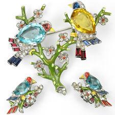 Trifari Philippe Aqua Citrine Enamel Birds on Branches Pin & Clip Earrings Set