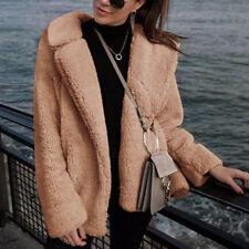 Women Teddy Bear Fleece Jacket Coat Borg Collared Faux Fur Short Parka Outerwear