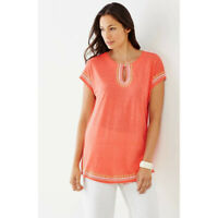 NWT Womens Size Small XS J Jill Coral Oversized Linen Knit Embroidered Tunic Top