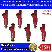 6x OEM 12 Hole Upgrade Bosch Fuel Injectors 99-04 Jeep Wrangler Cherokee 4.0L