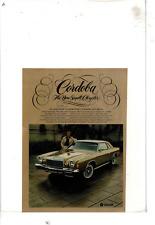 1975 CHRYSLER CORDOBA 2-DOOR COUPE LANDAU ROOF RICHARDO MONTALBAN AD PRINT E768