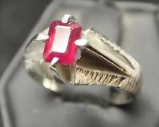 2.23 CT GENUINE RUBY .925 STERLING SILVER MENS DECO HANDMADE RING SZ 10 EMERALD
