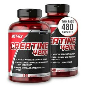 2-pk Met-Rx Creatine 4200 Muscle Strength Gains Power & Recovery 240 Capsules