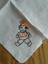 Unused Nos Vintage Child's Handkerchief ~ Hand Embroidered ~ French Bulldog