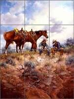 Tile Mural Backsplash Ceramic Sorenson Western Cowboy Horse Art RW-JS022