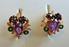 NATURAL AAA AMETHYST CHROME DIOPSIDE & RHODOLITE STERLING 925 SILVER EARRING