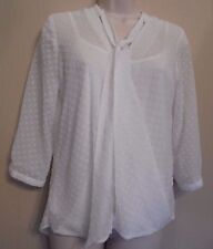 M&Co UK10 Petite EU38 US6 new ivory two-piece top with 3/4 sleeves and tie neck