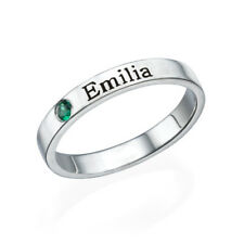 Stackable Birthstone Name Ring in Sterling Silver - Personalized (USA Seller)
