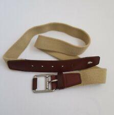 """Lacoste Mens Stretchable Canvas Belt Beige Brown Size Large L Authentic 45"""""""