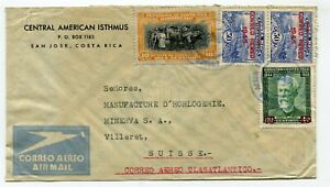Costa Rica airmail cover San José to Villeret Switzerland  see scans