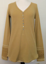 Sundance W's Size M Long Sleeve Henley, V Neck Mustard Yellow Color $68 NWT