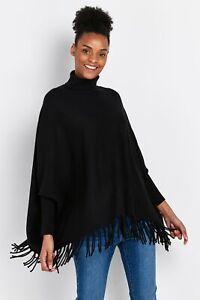 Wallis Womens Black Tassel Poncho Wrap Cardigan Knitwear Pullover Top Outwear