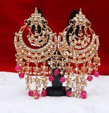 Indian Gold Tone Pink Pearl Earrings Set Kundan Bollywood Fashion Women Jewelry