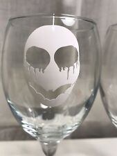 Halloween party glass  vinyl stickers Skull  With Bat mouth X 6. pumpkin white
