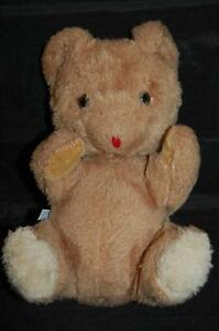 """Brown Teddy Bear Suede Paws Red Tongue Vintage Eden Toys Plush 9""""  Lovey USA"""