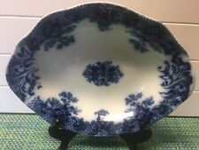 Antique Keswick Royal Semi Porcelain WOOD & SONS Flow Blue 9 X 12 Impressed Date
