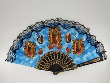 12 X Our Lady of Guadalupe Folding Fans Spanish Vintage Retro Style For Baptism