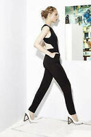 $398 NEW AUTH Alice Olivia Hitoli Open Back Cross Black Jumpsuit