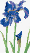 "Beautiful Iris, Bright Blue - Flower Cross Stitch Kit 7"" x 12"" - 14 Count Aida"