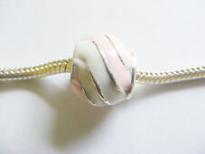 1 Silver Plated Enamel Charm Bead for European/ Charm Bracelets- Pink & White