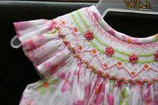 Will'beth Girls Smocked Dress w/Butterflies Angel Sleeves NWT 12m