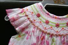 Will'beth Girls Smocked Dress w/Butterflies Angel Sleeves NWT 12m