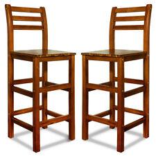 Barhocker mit Lehne 2er Set Akazienholz Küchen Hocker Tresenstuhl Bar Stuhl Holz