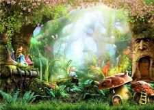 Fairy Tale Big old Trees Mushroom Houses 7X5FT Vinyl Studio Backdrop Background