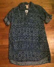 NWT Women's Aztec PHILOSOPHY Button Front Roll Tab Sleeves Dress Size Large L