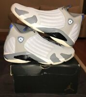 Nike Air Jordan 14 XIV Wolf Grey Gray Sport Blue 12 487471-004 Retro 1 3 4 8 11