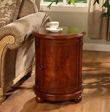NEW Drum Round Wood End Table Storage Bed Nightstand Coffee Side Brown Carved