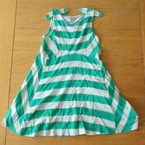 Joules Girls Green/white striped Skater dress 3-4yrs old(98-104cm) Pre-owned