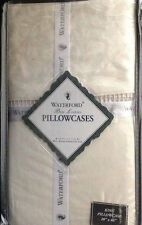 WATERFORD Tosca Scroll Ivory KING Pillowcases ~ NEW WITH TAGS