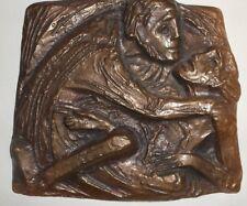 """Bronze Relief Bronzerelief """"Barmherziger Samariter"""" Joseph Krautwald ca 15x14cm"""