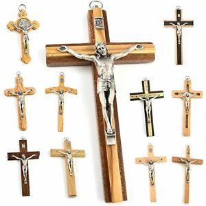"WOOD WALL CROSS CRUCIFIX JESUS CHRIST Hanging Religious Christian Gift 3"" 5"" 6"""