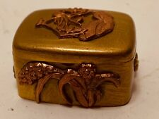 Vintage Japanese PILL BOX Brass with Copper Applied Decoration BIRDS Flowers