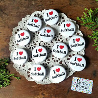"12 SOFTBALL Pins trade Badge 1 1/4"" PINBACK party favor gift trade DecoWords USA"