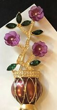 VINTAGE RHINESTONE CARVED LUCITE FLOWER ENAMEL POT BROOCH PIN 3 5/8""