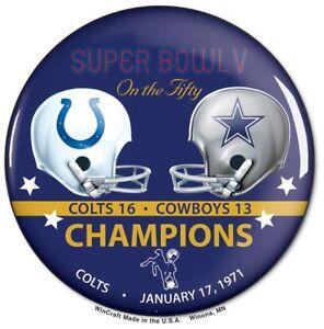 Baltimore Colts Super Bowl 5 V Champions Button WinCraft SB 50 Commemorative Set