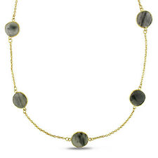 Amour 22k Yellow Gold Over Silver 42 Ct Rutilated Quartz Yard Necklace 36""