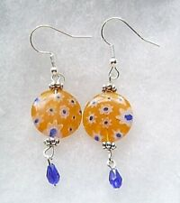 Millefiori Glass Earrings Sunflower Yellow And Blue