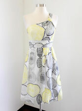 Milly New York White Yellow Silk One Shoulder Cocktail Evening Dress Printed 2