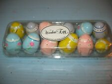 12 Dept 56 Wooden Easter Eggs Tulips, Ducks & Bunnies Decor.