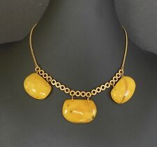 Vintage Gold Gilt Genuine Baltic Butterscotch Amber Bead Collar Necklace