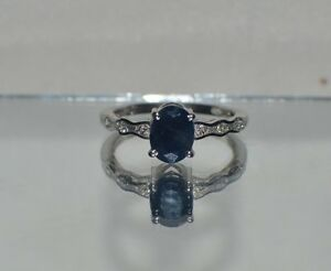 GLAMOROUS 1.70 ct. NATURAL  SAPPHIRE & TOPAZ IN PLATINUM OVER STERLING  SILVER