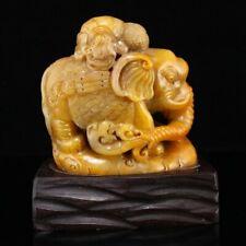 Vintage Chinese Shoushan Stone Fortune Elephant Statue